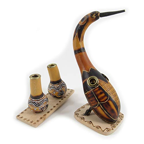 """Machu Picchu Store Two Pen Holders Hand Carved Gourd Mate """"The Bird and The Pumkin"""", Gourd Embellishment Folk Art 903085"""