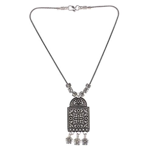 Efulgenz Boho Vintage Antique Ethnic Gypsy Tribal Indian Oxidized Silver Floral Tassel Statement Pendant Necklace Jewelry