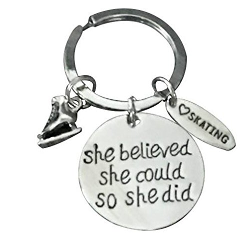 Figure Skating Keychain, Figure Skating Jewelry, Ice Skating She Believed She Could So She Did Keychain, Figure Skating Gift Idea