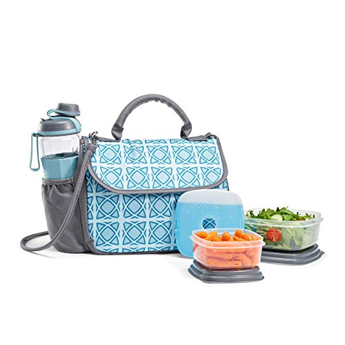 Fit & Fresh Lovelock Insulated Lunch Bag Kit for Women with BPA-Free Container Set and Shaker Bottle, Aqua Shadow Circle - Shoulder Fully Cotton Bag Lined