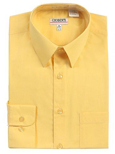 Gioberti Men's Long Sleeve Solid Dress Shirt, Banana B, Large, Sleeve 35-36