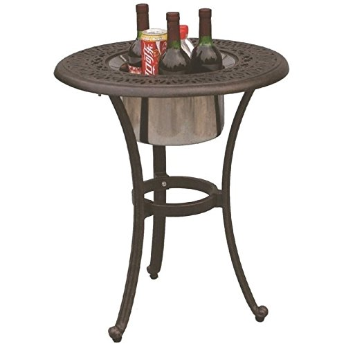 Cheap Darlee Elisabeth Cast Aluminum Round End Table with Ice Bucket Insert, 21″, Antique Bronze Finish