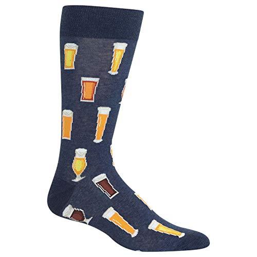 (Hot Sox Beer Crew Socks 1 Pair, Denim Heather, Men's 6-12.5 Shoe)
