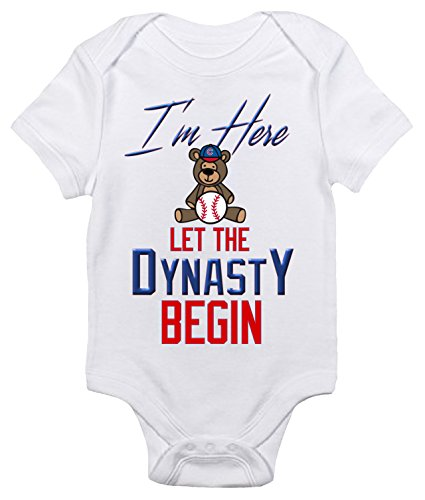 Cubs Chicago Onesie (I'm Here Let The Dynasty Begin Baby Bodysuit Cute Infant Cubs Baby Clothes (3-6 Months, White))