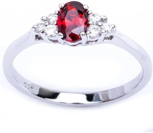 Oval Red Simulated Garnet & Cz Beautiful Fashion .925 Sterling Silver Ring Sizes 4-9