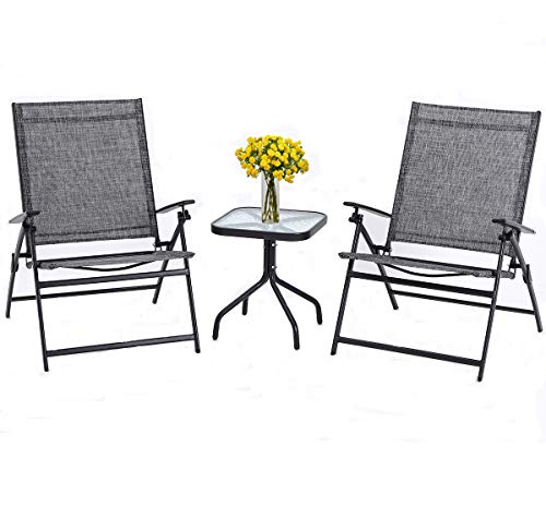 SUNCROWN Outdoor 3-Piece Patio Folding Chair Set Adjustable Reclining Lounge Chair Metal with Glass Coffee Table - DURABLE & COMFORTABLE - Strong metal framing provides extra support and balance for the chairs, while the thick cushions provide the comfort you need after a long day on your feet. GORGEOUS CHAIR - Ideal for small spaces or creating a cozy nook, relax your body on this zero gravity recliner chair. 2 RECLINING POSITIONS - The smooth reclining mechanism adjusts to 2 comfortable positions with flexible backrest and leg rest, which provides fantastic comfort and convenience as you desire. - patio-furniture, patio-chairs, patio - 41mABSzuZ2L -