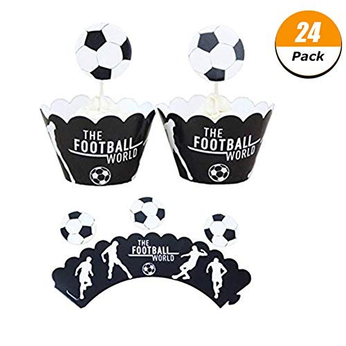 Wangyue 2018 FIFA World Cup Cupcake Decorations, One Sided Toppers and Wrappers, Football Soccer Cakecup Topp -