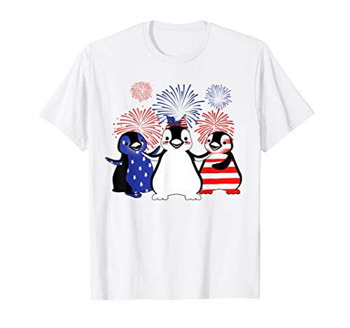 Fireworks American Flag Penguins Tshirt 4th Of July Gifts