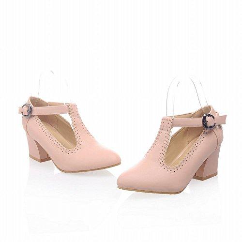 Latasa Womens Fashion T-strap Buckle Chunky Mid-heel Casual Comfort Pumps Shoes Pink t2aU3uxo