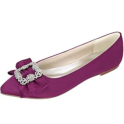 LOSLANDIFEN Women's Satin Flats Party Low Heels Wedding Bridal Shoes