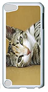 Fashion Customized Case for iPod Touch 5 Generation Cool White Plastic Case Back Cover for iPod Touch 5th with Cute Cat