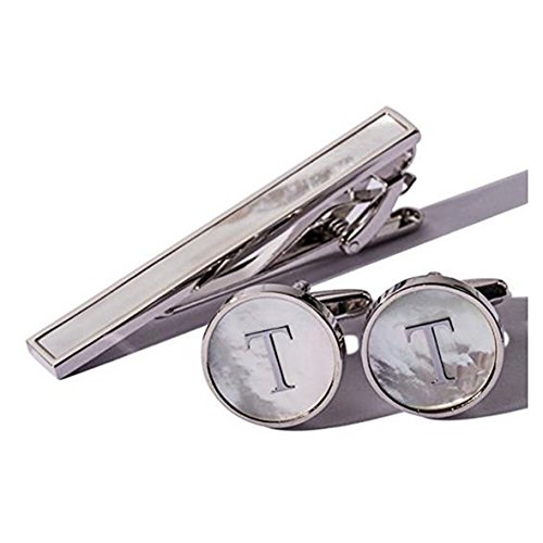 Digabi Platinum Plated 18K Rectangular Mother of Pearl Tie Clip and Initial Letter Cufflinks Set with Nice Box (Silver ()