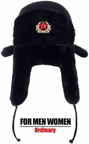 556b643f26b Soviet Army Military Badge Russia Ushanka Bomber Hats Pilot Trapper Aviator  Cap Winter Faux Rabbit Fur