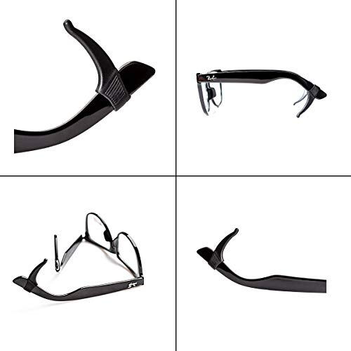 Keepons Superstretch Black Prevent Eyeglass Slipping Anti Slip Anti Slide Eyewear Sunglasses Spectacles Glasses Temple Tips Sports Ear Hooks Sleeves Retainer (10 Pairs)