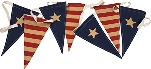 PBK Primitive Patriotic Decor -Vintage Flag Fabric Pennant Garland Banner #29561