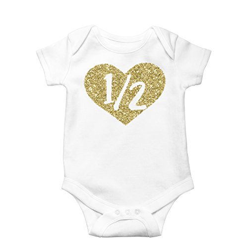 Olive Loves Apple Half Birthday Bodysuit Girls 1/2 In Heart Birthday Glitter Gold Outfit For Baby Girls,3-6 months short sleeve]()