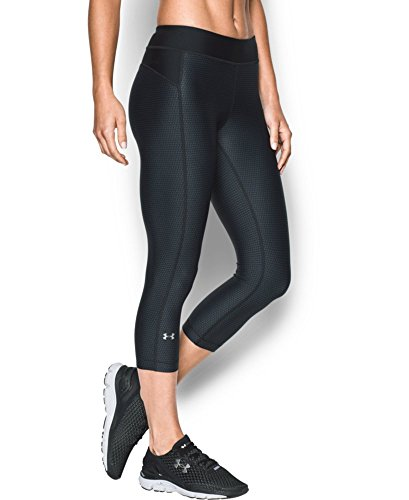 Under Armour Women's HeatGear Armour Printed Capri, Black (005), X-Large