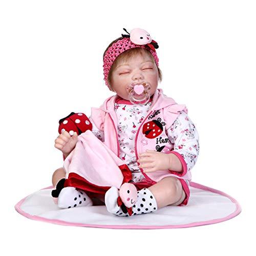 (EAPTS 22inch Silicon Lifelike Sleeping Doll Blanket Cartoon Onesies Pink Coat Ladybug Headband Early Childhood Kids Baby)