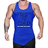 WUAI Mens Workout Fitness Tank Tops Casual Muscle Bodybuilding Gym Sports Shirts Tops(Blue,US Size S = Tag M)