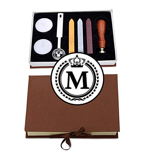 VSECUON Letter M Wax Seal Stamp Crown M Seal Stamp Classic Vintage Initial M Seal Stamp Maker Great Gift for Friends Birthday Christmas New Year (Crown M kit)