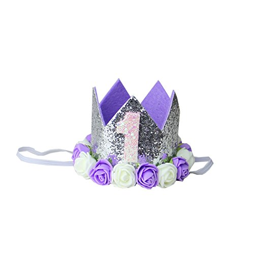 Kirei Sui Baby Silver Lavender Birthday Rosettes Crown Headband 1st