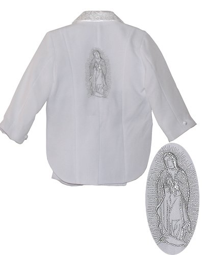 White Baby Boy Suit Set, Silver Maria Guadalupe Embroidered, Amoeba pattern