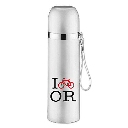 Steel Mug I Bike Oregon Designed Vacuum Cup, 16-Ounce, White (Compact Velo Safe)