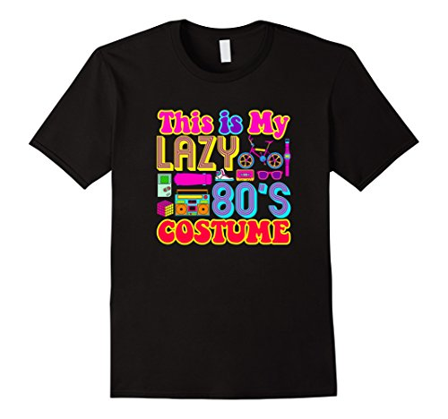 Mens Easy Halloween Costume For Adults Lazy 80's Costume T-Shirt XL Black