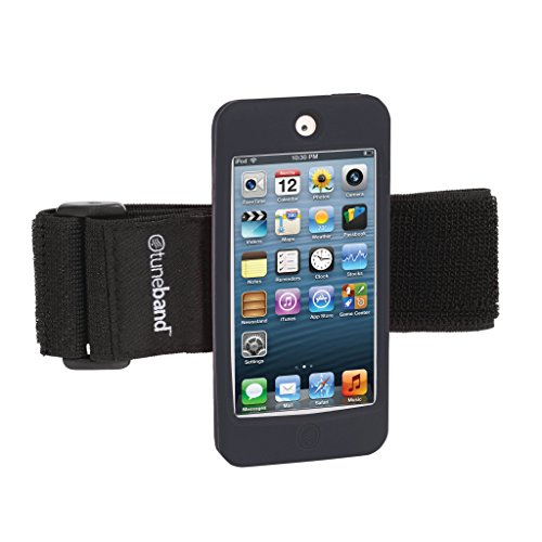 Grantwood Technology TuneBand for iPod Touch 5th/6th Generation, Premium Sports Armband with Two Straps and Two Screen Protectors (Fits Models A1421/A1509/A1574), Black (Armband Ipod Adjustable)