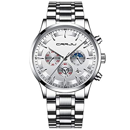 CRRJU Brand Men s Business Casual Chronograph Quartz Waterproof Wristwatch Black Stainless Steel Strap