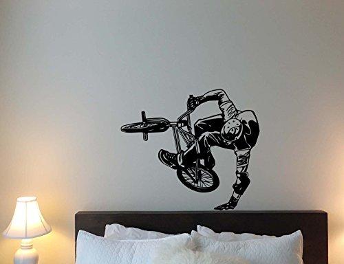 (BMX Bike Wall Decal Extreme Sport Bicycle Racer Biker Stunt Vinyl Sticker Cartoon Movie Playroom Living Room Home Bedroom Nursery Decor Art Poster Mural Custom Print 319)