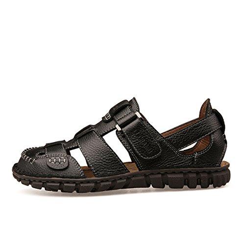 Summer Leather Hiking Closed Sandals Minishion Boys Black Toe Mens nOq7FY