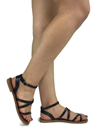 Womens Tansy Criss Cross Toe Ankle Strap Gladiator Sandal Flat