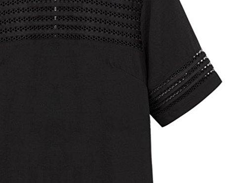 Damen T-Shirts Blusen Longshirt Kurzärmelig Oversize O Ausschnitt Uni-Farben Aushöhlen Mit Reißverschluss Die Neue Einteiler Sommer Durchsichtig 2017