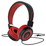 Kids Headphones Besom i66 for Boys Girls Teens Children Toddler Volume Limited Adjustable Foldable Tangle-Free Cord 3.5mm Jack Wired Over-Ear Headset for iPad iPhone Computer MP3/4 Kindle Tablet (Red)