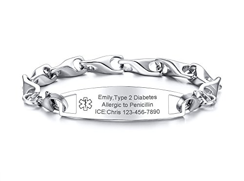 (VNOX Custom Engraving-12MM Medical Alert ID Special Link Chain Double Lobster Clasp Stainless Steel Bracelet)
