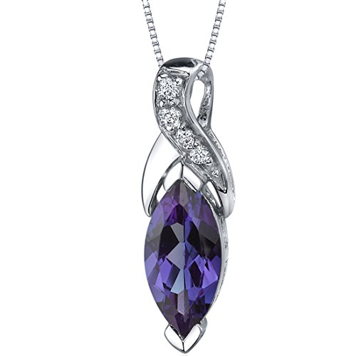 - Simulated Alexandrite Pendant Neklace Sterling Silver 2.50 Carats Loop Design