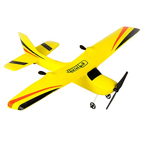 Auvem RC Glider, Quad Axis Gyro RTF Remote Control Airplane 350mm Wingspan EPP Micro Indoor Flight Model Yellow