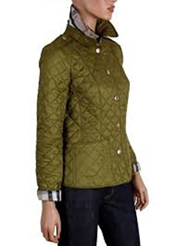 BURBERRY LADIES KENCOTT LIME CHARTREUSE GREEN DIAMOND QUILTED NOVACHECK JACKET MEDIUM (Burberry Quilted Jacket)