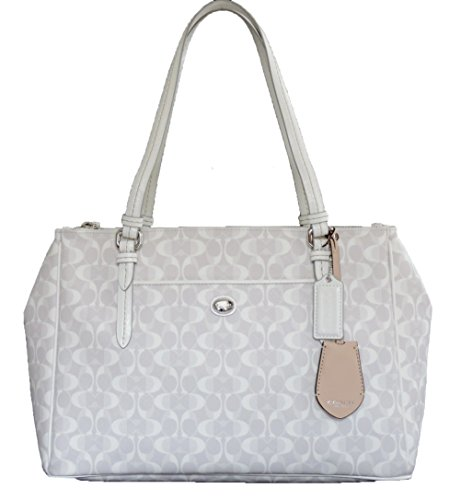 Coach Peyton Dream C Jordan Double Zip PVC Carryall in Dove & White by Coach