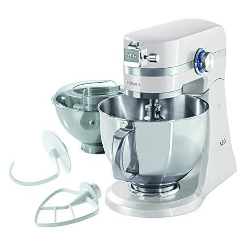 chollos oferta descuentos barato AEG KM4100 Amasador Robot de Cocina con Bol Batidora Apta para Lavavajillas Dos Boles 10 Velocidades Iluminación LED Múltiples Varillas 1000 W 2 9L y 4 8L Blanco