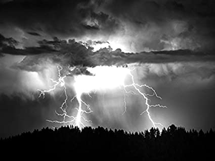 Lightning Storm Rain Clouds Sky Nature Thunderstorm