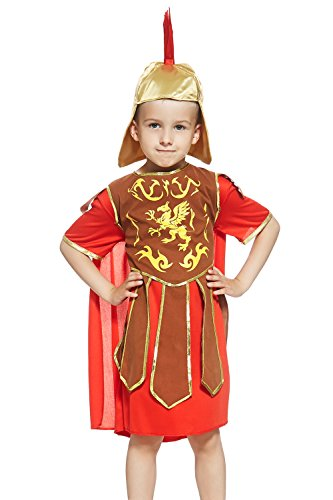 [Kids Boys Gladiator Halloween Costume Spartan Roman Warrior Dress Up & Role Play (6-8 years, red, gold,] (Cute Unique Costumes)