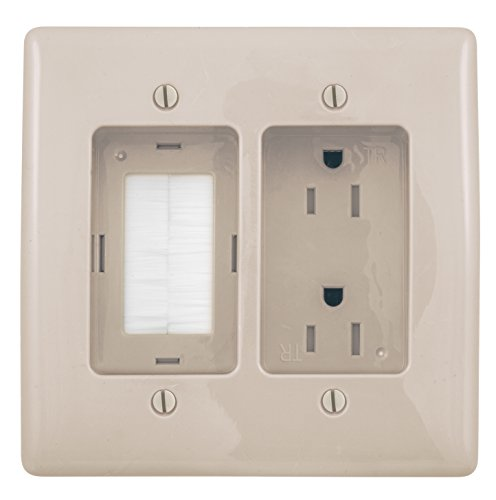 (Bryant Electric RR1512LA 2-Gang Recessed TV Connection Outlet Plate with 15 Amp 125V Tamper-Resistant Duplex Receptacle with One Pass-Thru Opening, Light Almond)
