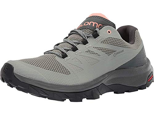 Salomon Women's Outline GTX Hiking Shoes, SHADOW/Urban Chic/Coral Almond, 8.5 by SALOMON