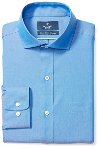 - BUTTONED DOWN Men's Classic Fit Cutaway-Collar Solid Non-Iron Dress Shirt (Pocket), French Blue, 17