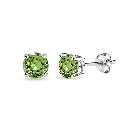 Sterling Silver 5mm Round Light Green Stud Earrings created with Swarovski Crystals
