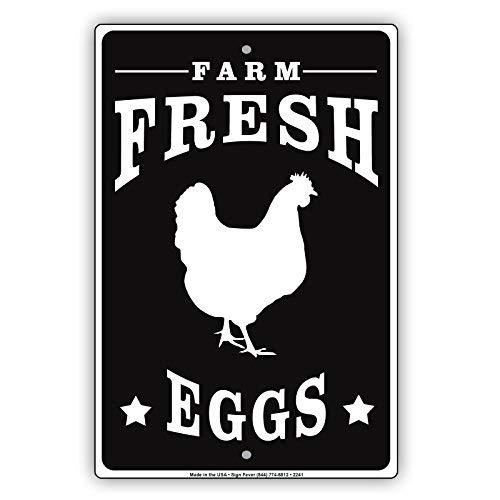 VINMEA Farm Fresh Eggs - Cartel de Aluminio con Texto en ...