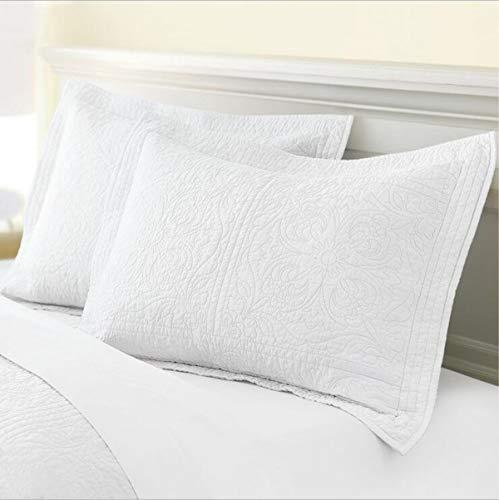 Pillow Cotton Sham Floral - WINLIFE 100% Cotton Quilted Pillow Sham Floral Printed Pillow Cover White
