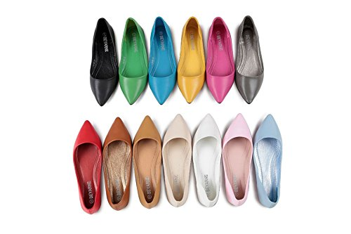 Women Classic Casual Candy Color Pointed Toe Sweety Ballet Flats Comfort Soft Slip On Shoes S-6 vBIsLCd